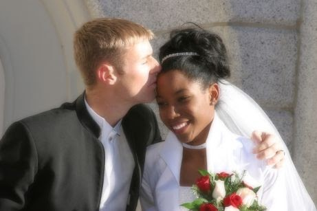 interracial couple on their wedding day