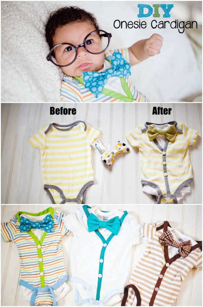 Cardigan Onesie Tutorial: An easy DIY to make your own cardigan onesie for just $2. This tutorial is so easy, you'll be impressed.