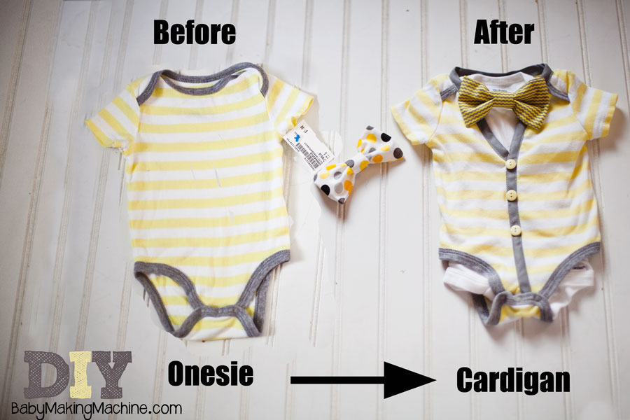 How to make a onesie cardigan for $2. A super easy tutorial. Seriously, it's like sewing for dummies. Perfect baby shower gift.