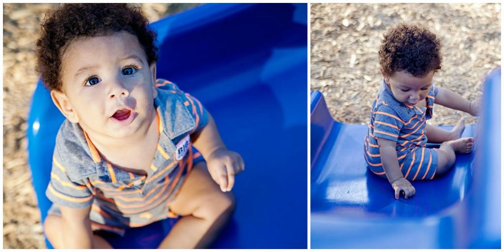 baby boy on slide