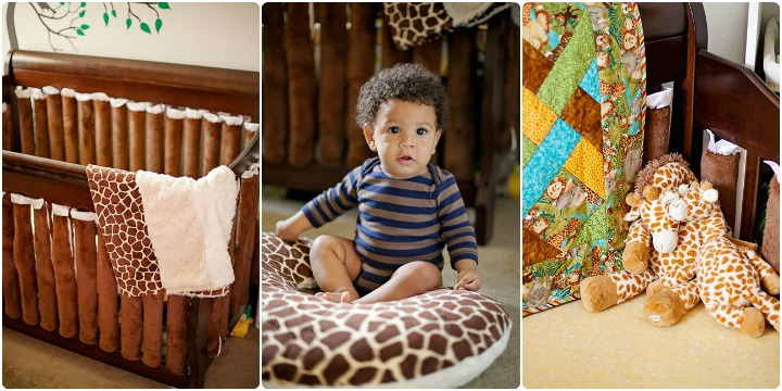 Gender neutral giraffe nursery crib bedding 2