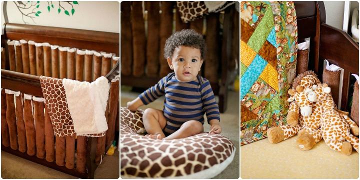 Gender neutral giraffe nursery crib bedding 2