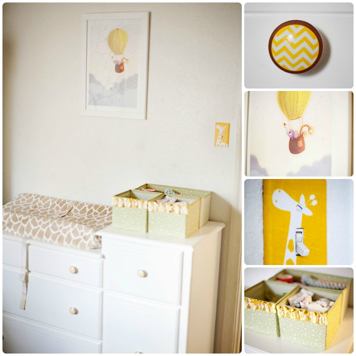 Gender neutral giraffe nursery diaper changer