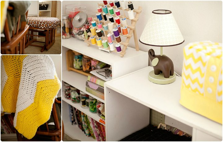 Giraffe and chevron themed craft room
