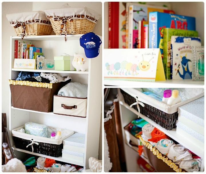 Giraffe gender neutral nursery shelves