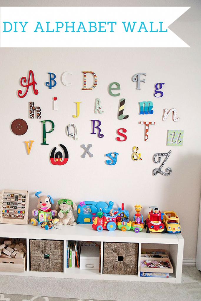 DIY Wooden alphabet wall letters tutorial. #playroom #nursery #disney