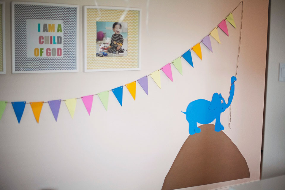 Dr. Seuss Party: oh the places you'll go party theme; elephant banner places you'll go