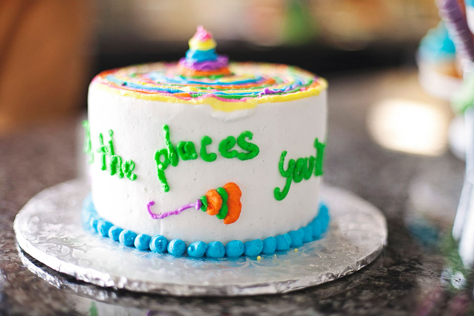 Dr. Seuss Party: oh the places you'll go party theme; oh the places you'll go smash cake