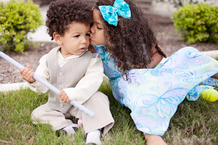 Lovely siblings dressed for Easter