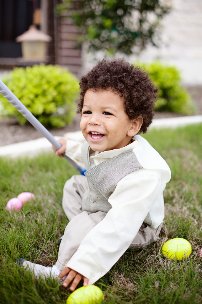 Easter egg hunt with baby