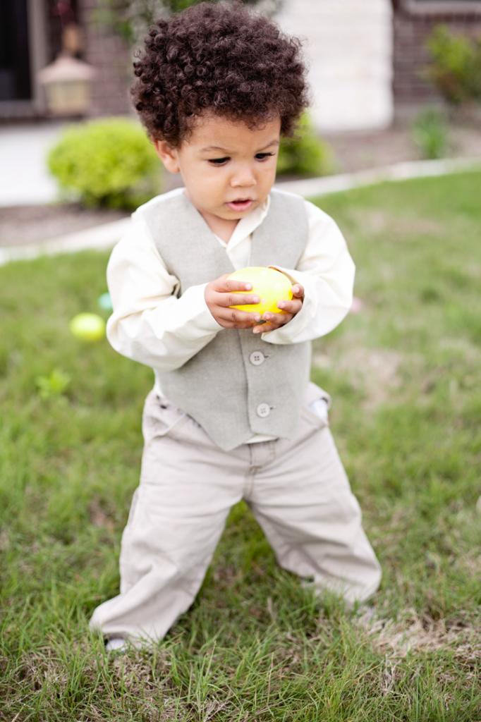Dapper boy with Easter egg