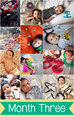 Document your baby's life one day at a time. Take a daily photo with the number of days beside them. These are so cute! Love the ideas for even monthly-photo inspiration.