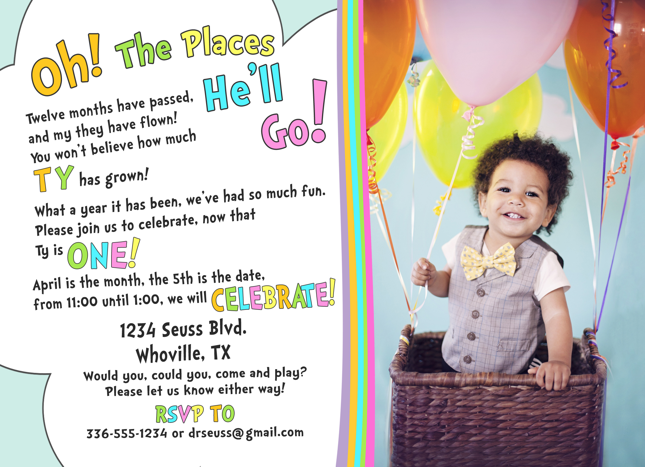Dr Seuss Party: Oh the places you\'ll go party! First birthday ...