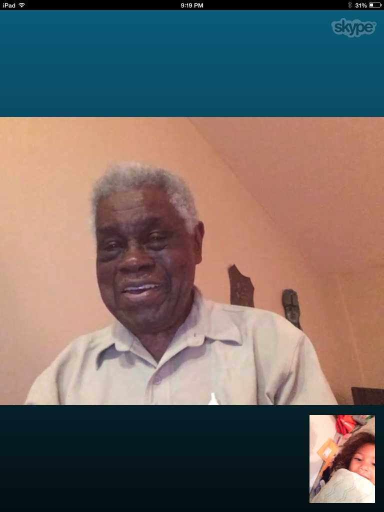 95-year-old great-great-grandpa skyping with 4-year-old great-great granddaughter.