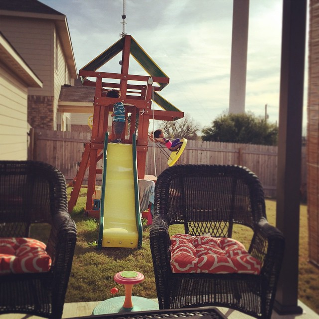 Perfect We got a playscape for the kids my dream e true and I bought a wicker patio set steel pergola and bamboo shade I couldn ut believe it but we managed