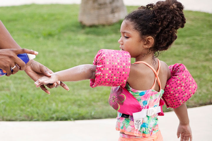 Sunscreen tips for multiracial families.