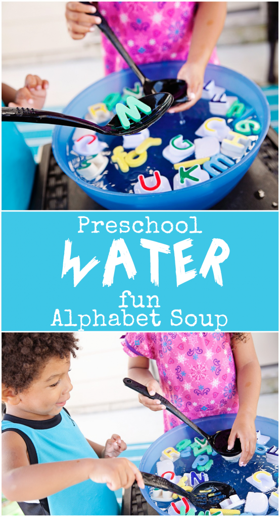 Preschool summer water activity DIY Alphabet Soup
