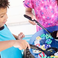 Preschool summer water activity DIY Alphabet Soup