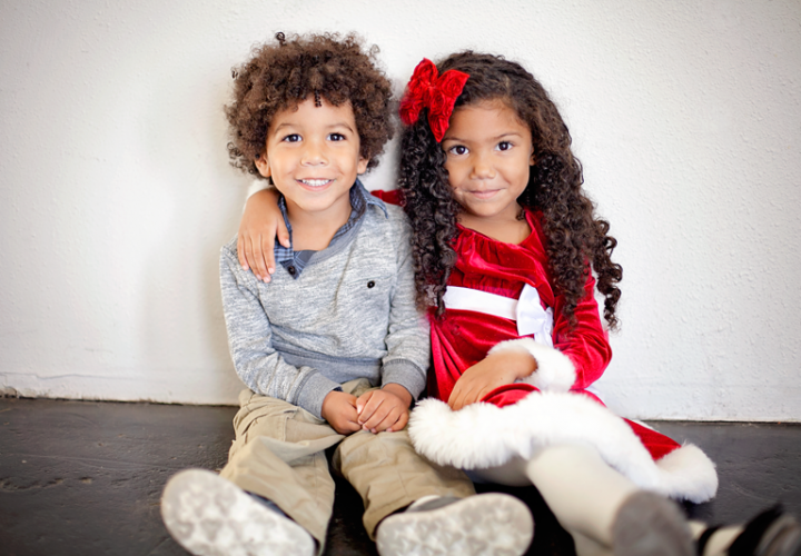 Cute biracial siblings- Whimsical photos with Santa Claus- behind the scenes