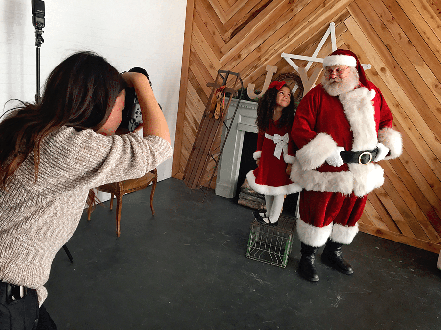 Whimsical photos with Santa Claus- behind the scenes