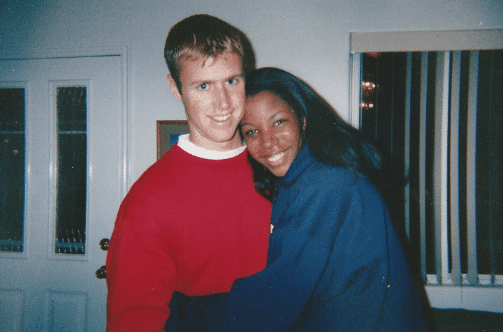 Holiday newlyweds interracial couple