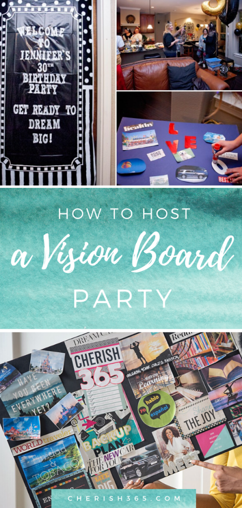 Pictures of different color vision boards at a birthday party scene