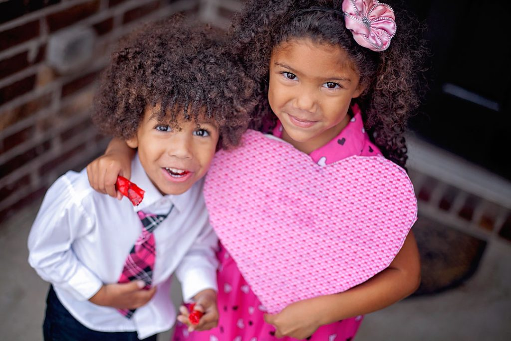 Valentines photo shoot with biracial siblings