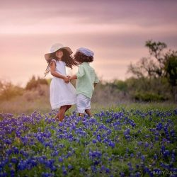 Biracial siblings Spring Texas Bluebonnet pictures