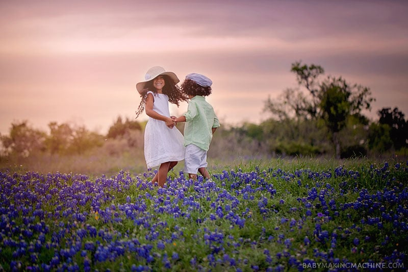 Biracial siblings Spring Texas Bluebonnet pictures- Childhood memories photography