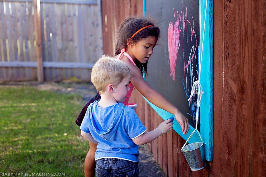 backyard chalk board fence