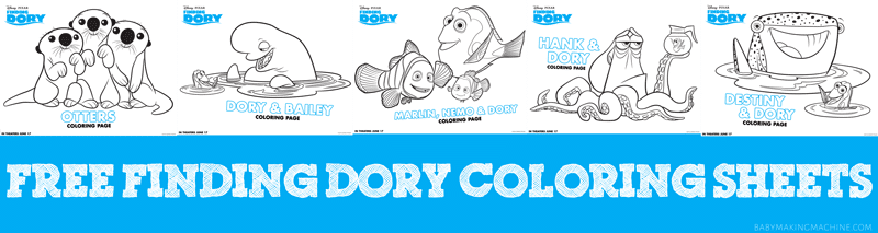Free Finding Dory coloring sheets pages
