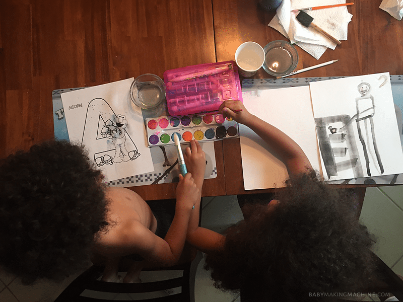 Deciding home school: Homeschooling water color activity.