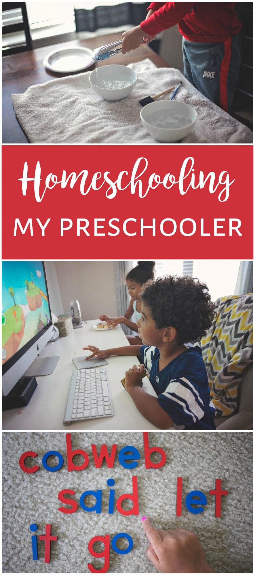 Homeschooling a preschooler.