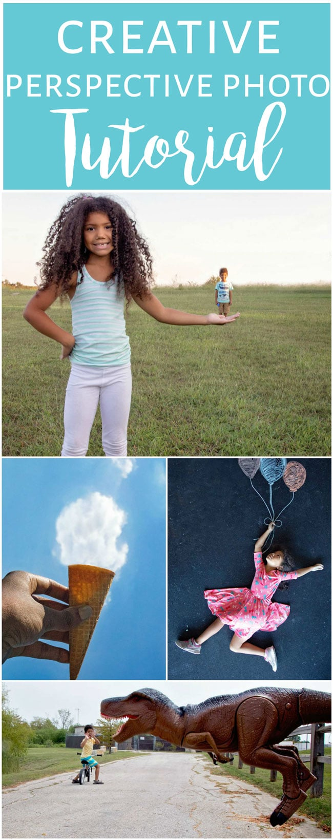 How to take forced perspective photos, fun creative photography with kids.