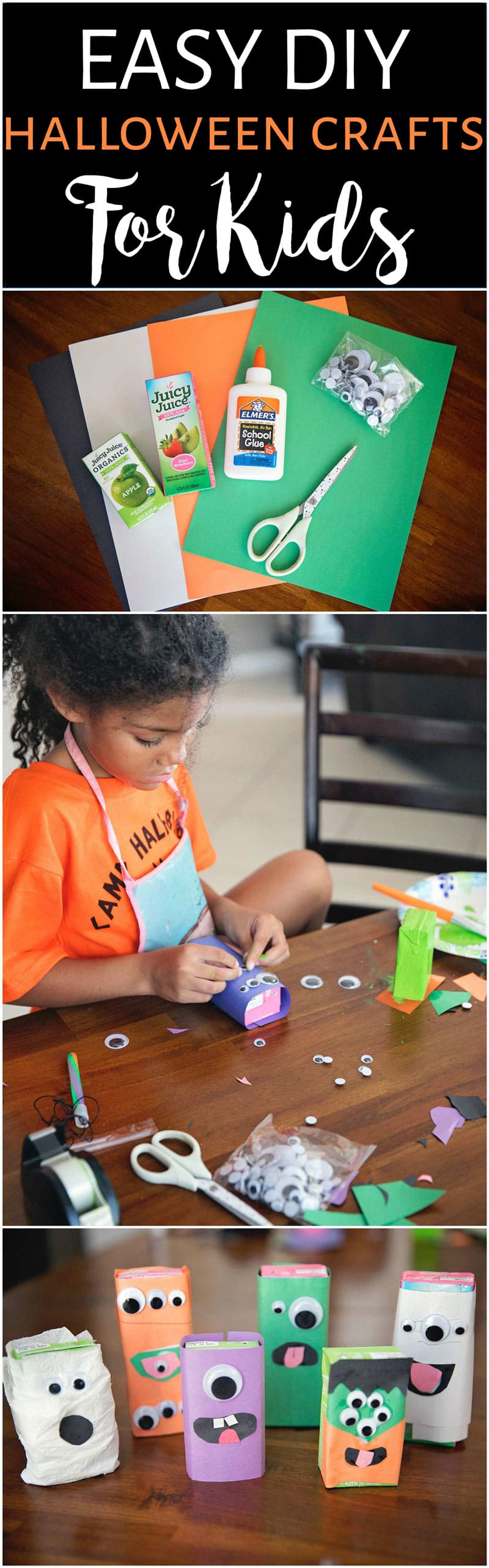 Easy DIY how to make a Halloween juice box monster craft with kids.
