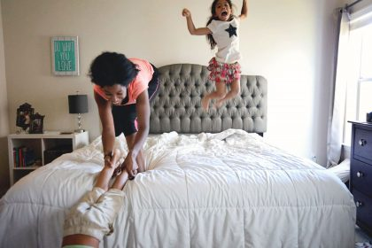 Jumping on the bed with mommy silly