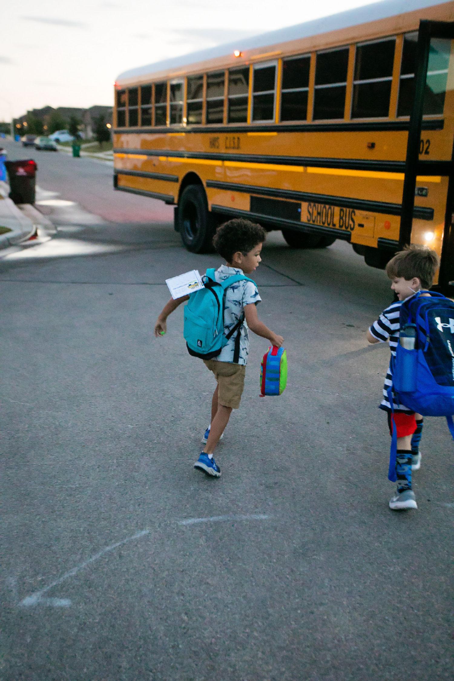 Early bus ride kindergarten