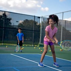 Kids first tennis lesson. How to play tennis.