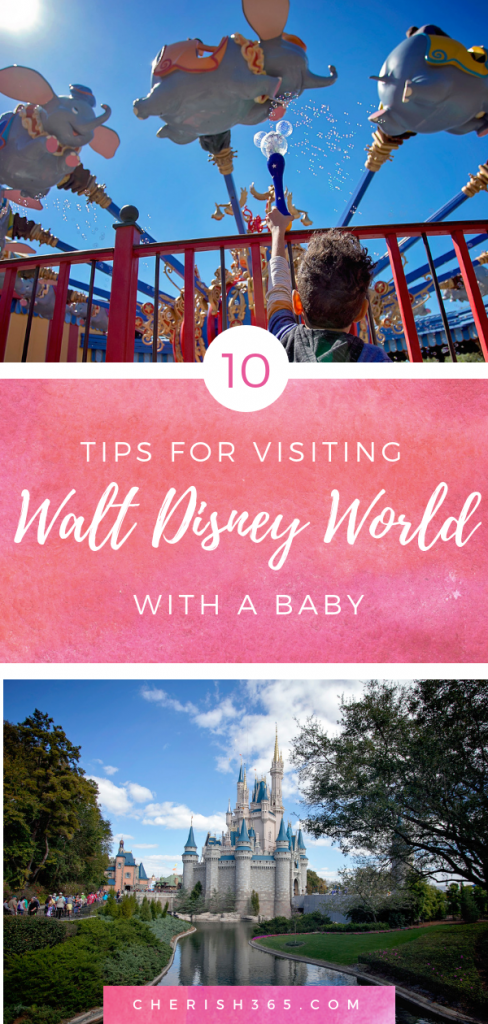 Tips for visiting Walt Disney World with an Infant, a happy baby riding a Walt Disney World ride.