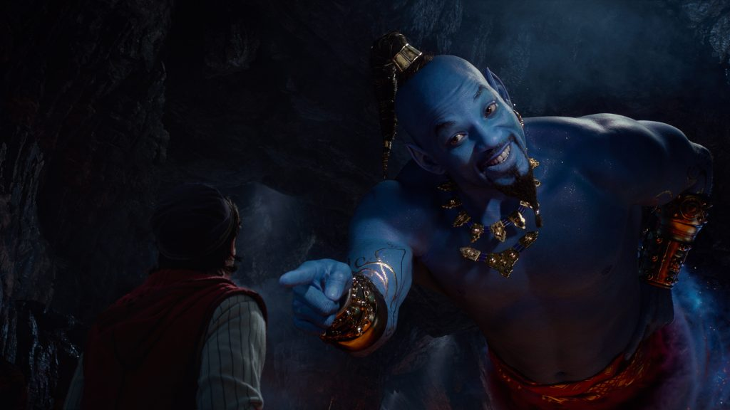 Will Smith as Genie in Aladdin kids movie review safe for kids.