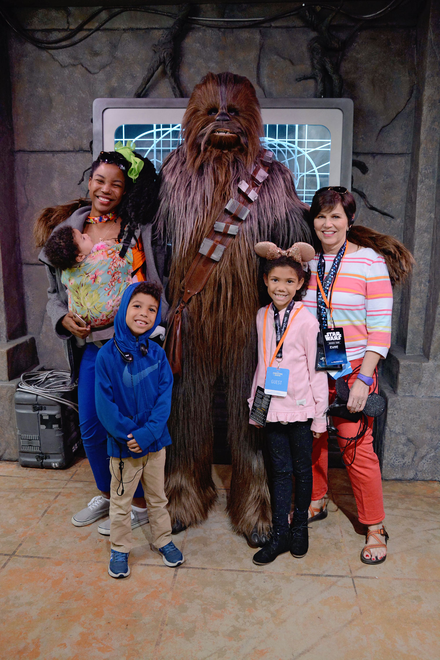 Family meeting Chewbacca on the Star Wars Guided Tour at Disney's Hollywood Studios