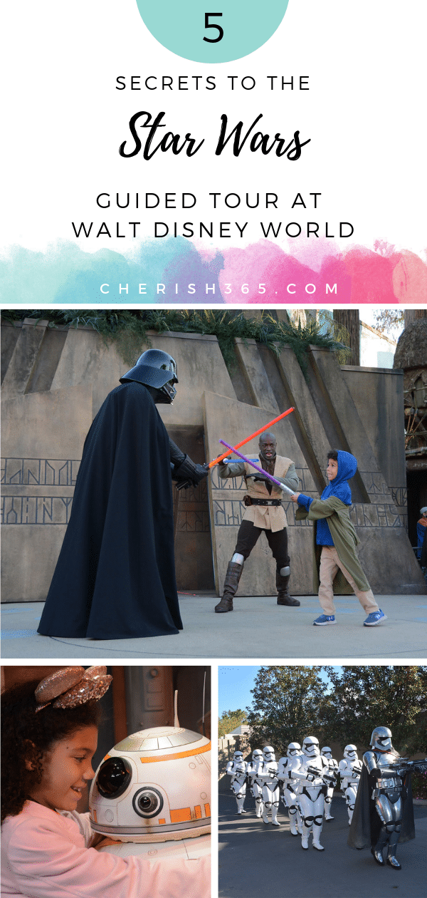 Little biracial boy battles Darth Vader on the Star Wars Guided Tour at Disney's Hollywood Studios