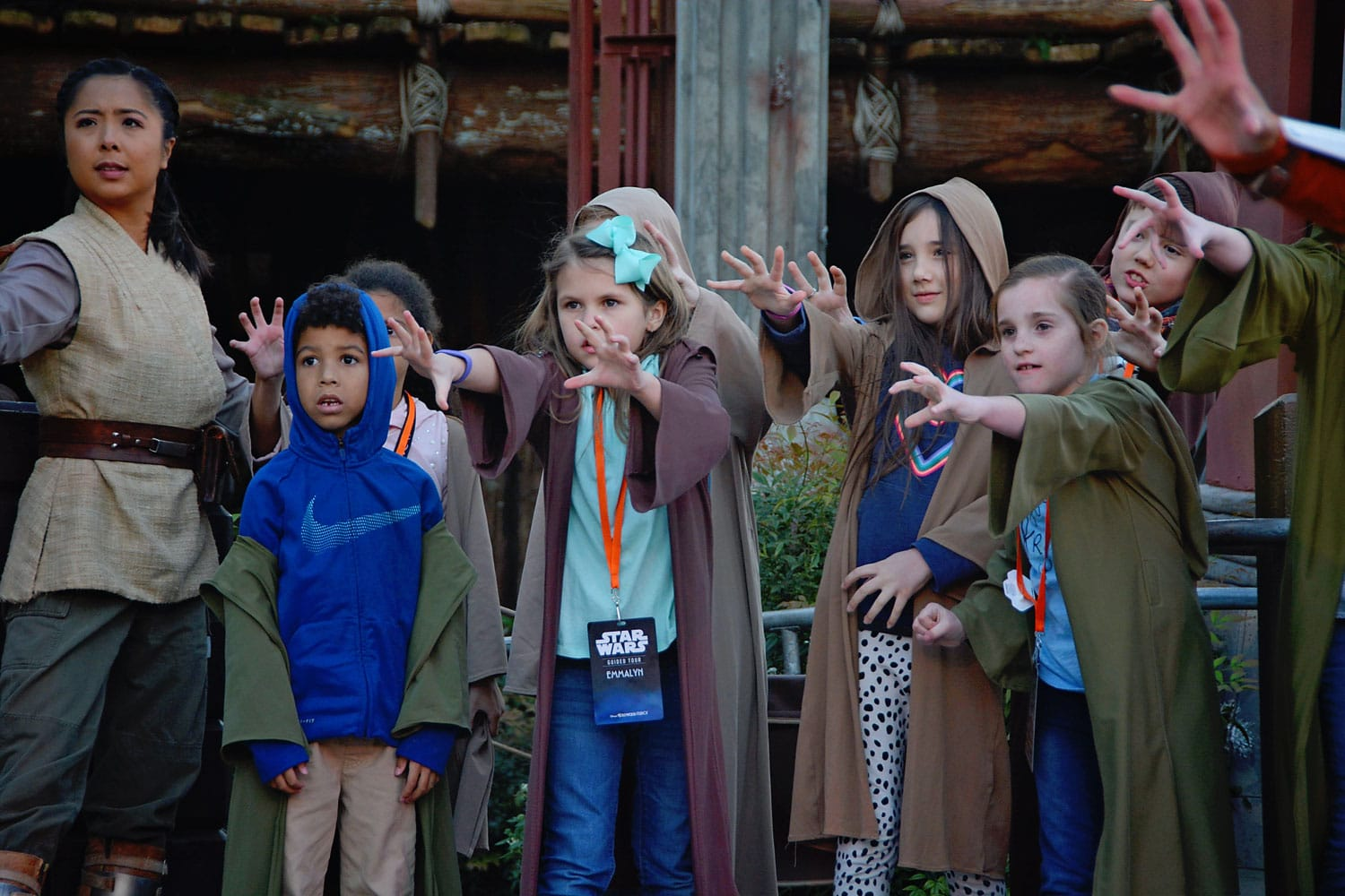 Kids participate in Jedi Training on the Star Wars Guided Tour at Disney's Hollywood Studios
