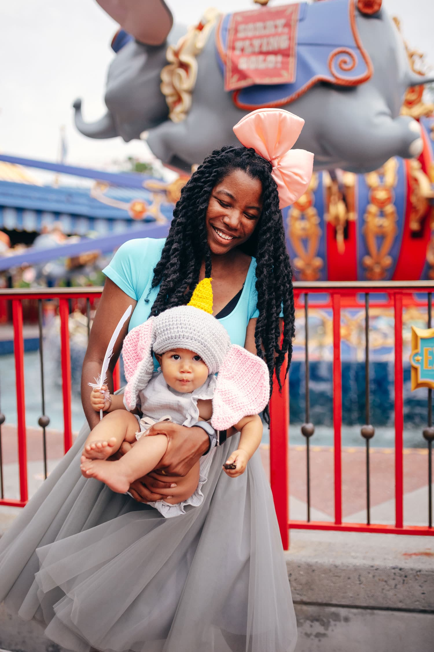 Mother daughter Disney Bound. Dressed as Mama Jumbo and a baby girl as Dumbo.
