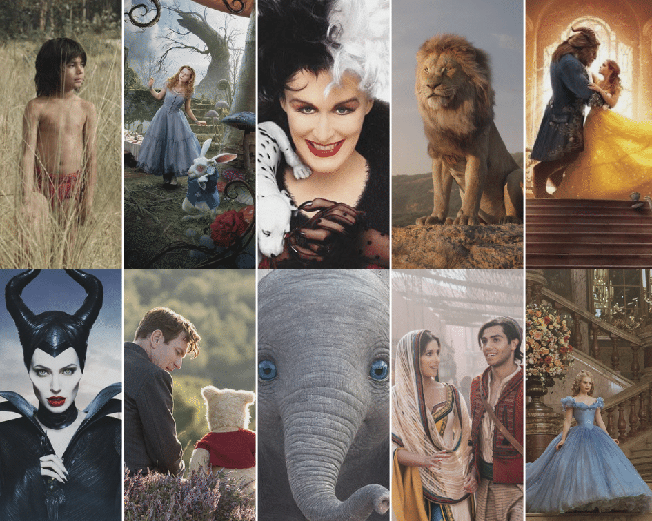 Disney live action movies ranked. A collage of ten live action remakes.