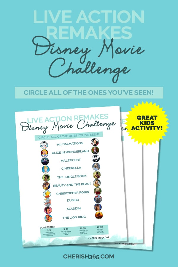 Disney Live Action Movies Ranked and a Free Printable Checklist