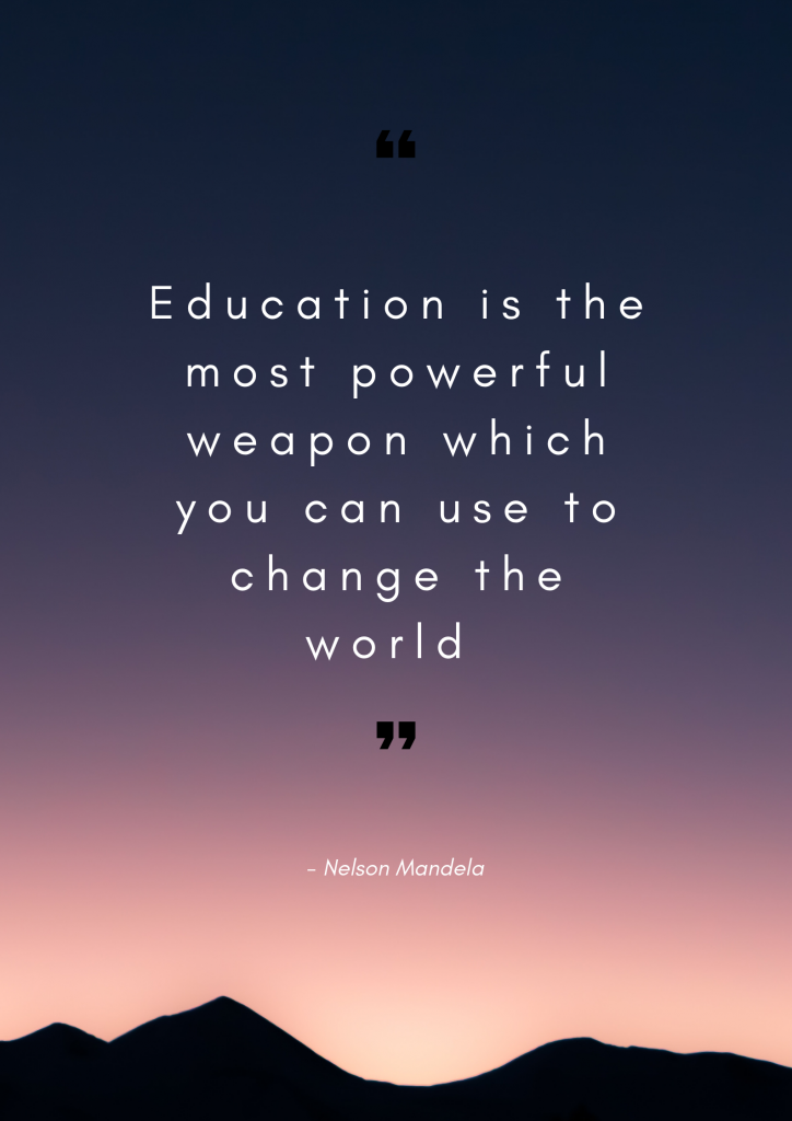 Inspirational education quote. Education is the most powerful weapon which you can use to change the world.