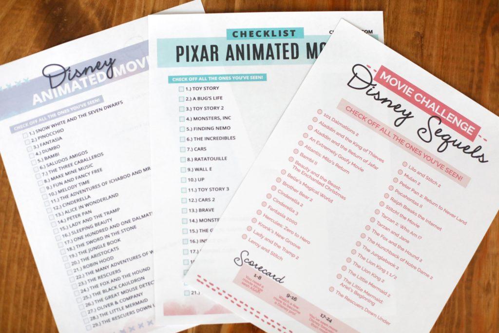 Disney movie marathon checklist lists