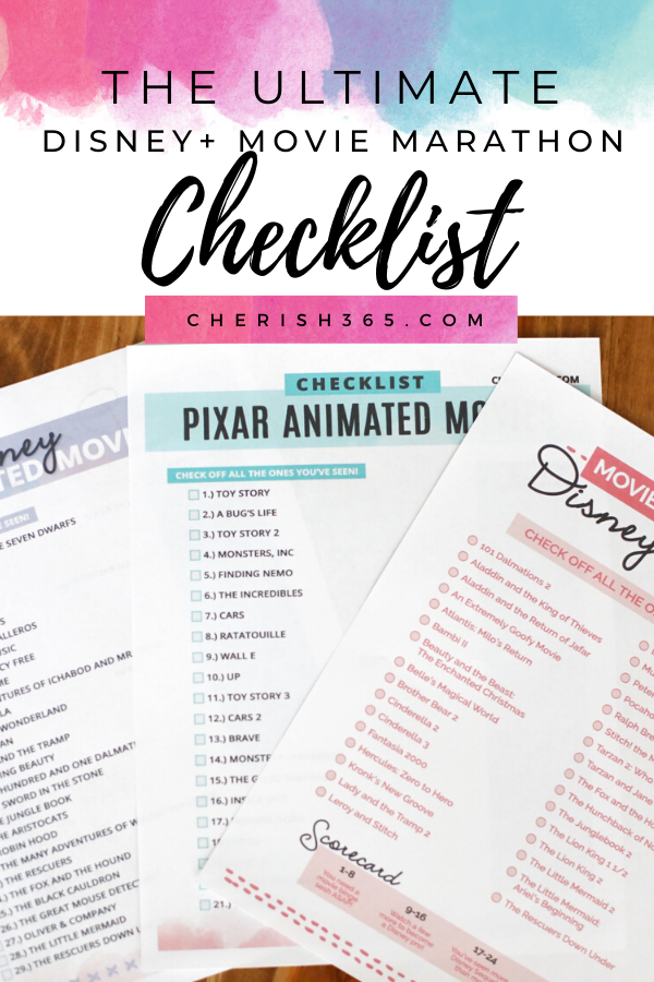 Use these free Disney movie checklists for your Disney movie marathons on Disney Plus.