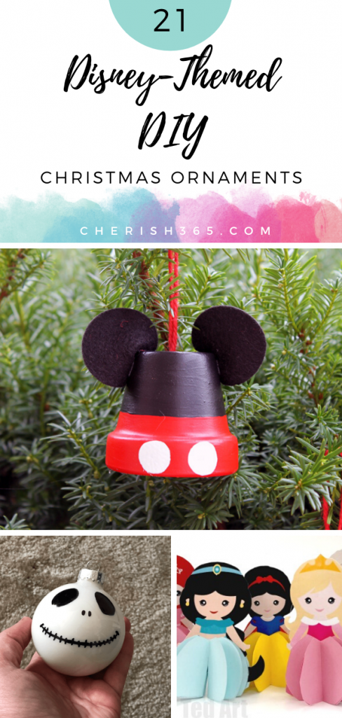 A selection of different Disney-themed Christmas ornaments you can make yourself.
